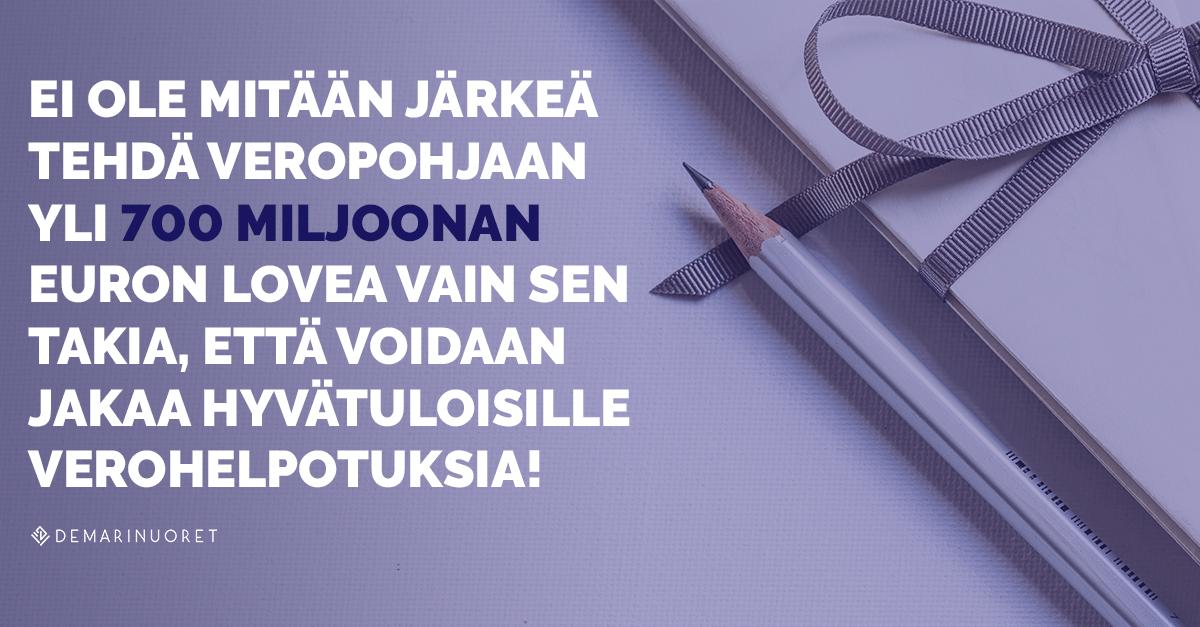 Demarinuoret: Perintövero on Suomen parhaita veroja ja sitä tarvitaan jatkossakin!