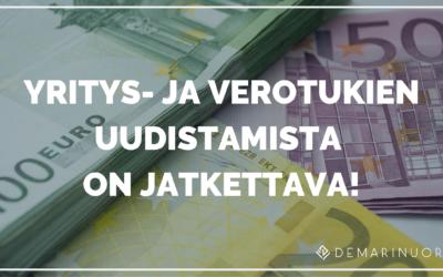 Demarinuoret: Yritys- ja verotukien uudistamista on jatkettava!