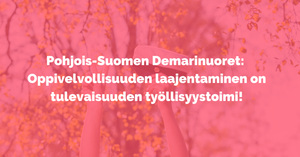 Kuvassa punainen pohja ja teksti Pohjois-Suomen Demarinuoret: Oppivelvollisuuden laajentaminen on tulevaisuuden työllisyystoimi!