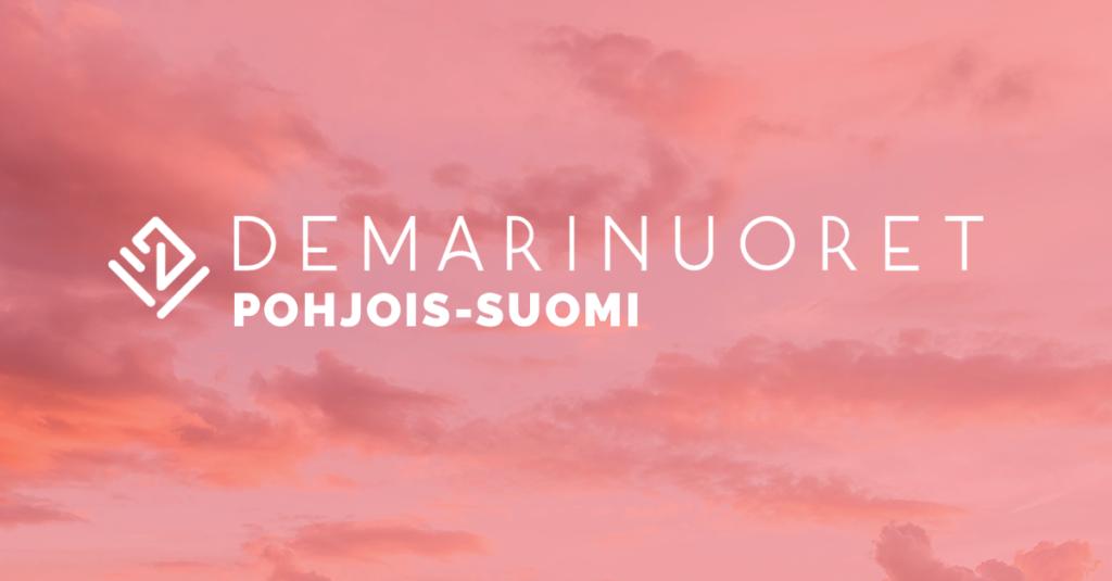 Kuvassa Pohjois-Suomen Demarinuorten logo. Yllä lukee Demarinuoret ja alla Pohjois-Suomi.