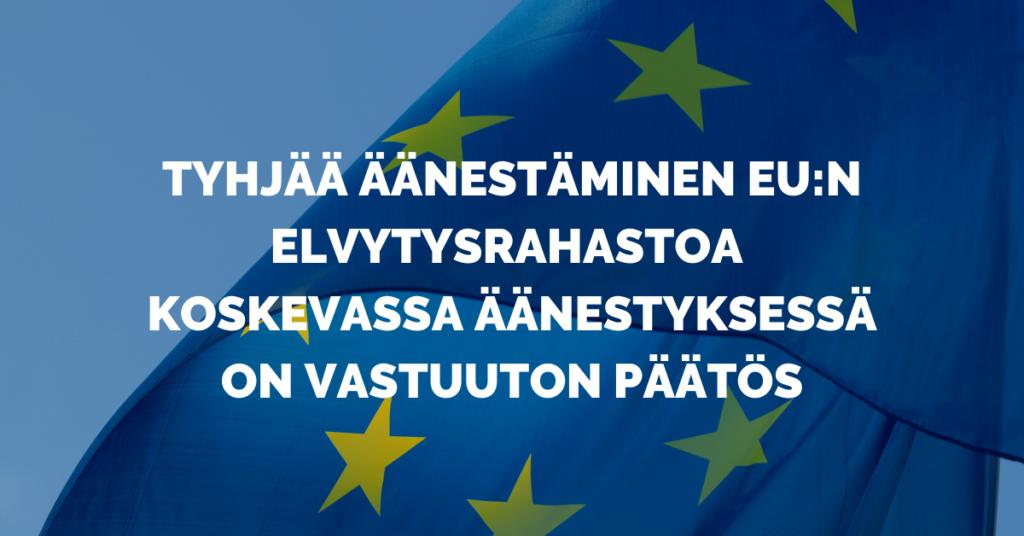 Kuvassa olevassa tekstissä arvostellaan Kokoomuksen poukkoilevaa ja Suomen kasvun, talouden ja työpaikkojen kannalta vastuutonta politikointia.