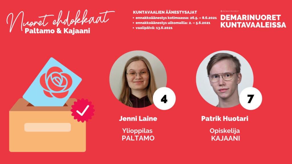 Kuvassa esitellään Paltamolaisia ja Kajaanilaisia kuntavaaliehdokkaita.