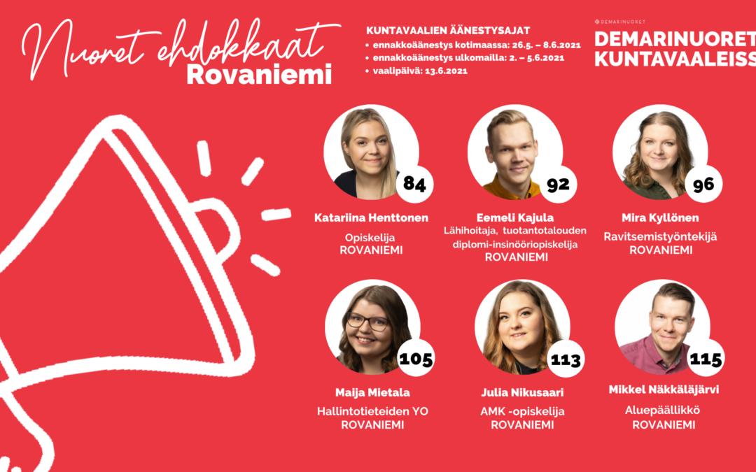 Tutustu Pohjois-Suomen Demarinuorten rovaniemeläisiin kuntavaaliehdokkaisiin!
