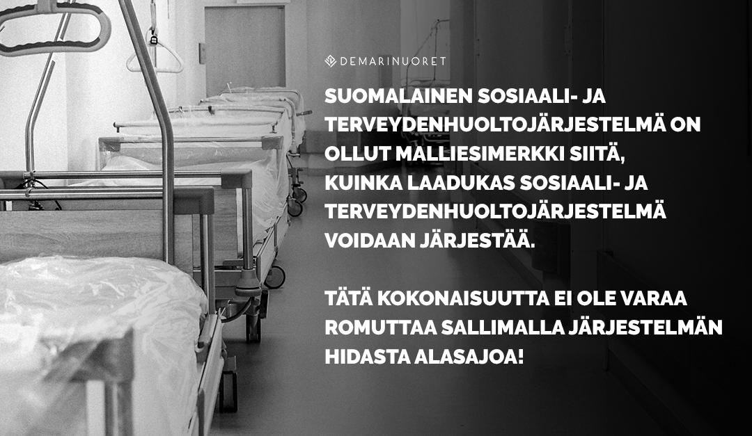 Kuka meitä hoitaa huomenna? – Demarinuoret vaatii kolmikantaista palkka- ja työhyvinvointiohjelmaa sosiaali- ja terveysalalle