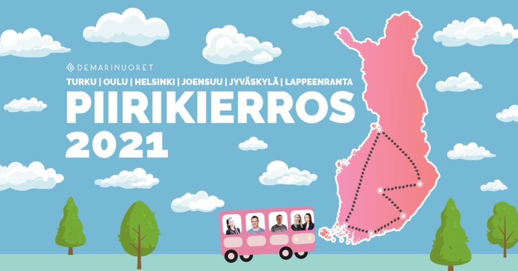 Kuvassa bussi ajaa ympäri suomea ja tekstissä lukee Piirikierros 2021.